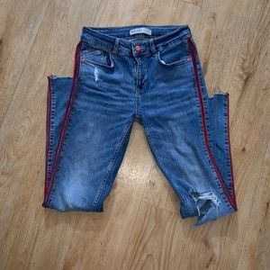 Zara Denim high Waist Jeans with Red Stripe